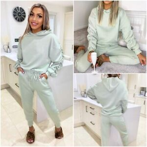 Ladies Lounge Wear Hooded 2 Piece Co Ord Jogging Bottoms Womens Tracksuit Set