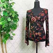Vintage Early 2000s Y2K Self Esteem Floral Mesh Long Sleeve Babydoll Top