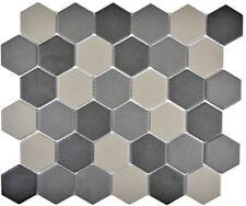 Mosaik Fliese Keramik Hexagon grau dunkelgrau schwarz 11B-2313-R10_f 10 Matten