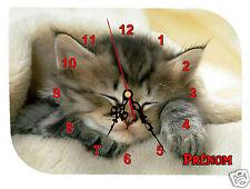 horloge pendule murale REF F017 CHAT à personnaliser PRENOM  AU CHOIX
