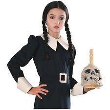 Wednesday Addams Family Wig Child Girls Black w/ Braids Halloween Costume Acsry
