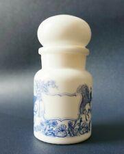 Pot / Bocal Apothicaire, Epices - Verre Opaline / imprimé Bleu - Vintage 1980