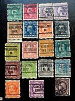 1917-19 US SC #498 - 518 Washington & Franklin Precanceled Set (No 500 or 505)