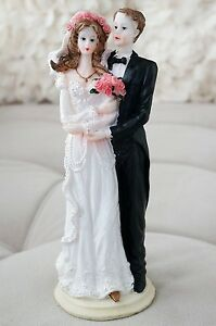 Vintage Traditional Bride and Groom Cake Topper or Decor Floral Veil Rosy Cheeks