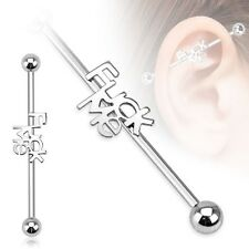 FU(K ME Logo Stainless Industrial Bar Scaffold Ear Barbell Ring PIERCING JEWELRY