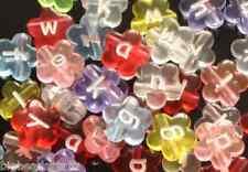 100pcs assorted flower alphabet /letter acrylic beads 11x4mm