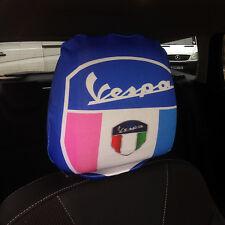 Asiento de coche reposacabezas cubre 2 Pack Vespa Escudo Rosa Azul diseño hecho en Yorkshire