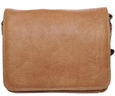 Bolsa de piel kansas safari con rosas grabado con 3 compartimentos +2rv - bolsa de asignaturas naturaleza marrón