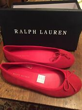 Womens: Ralph Lauren Red Suede Flats - 7 - (New)