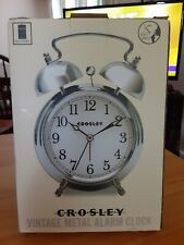 Crosley Vintage Metal Alarm Clock w/ Silver Finish Battery Operated, New!
