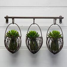 Home Garden Decor Iron Wall Mount Pot Plant Holder Planter Rack Window 3x Basket