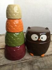 TAG 6 Pc Ceramic Nesting Measuring Cup Set Autumn Colored OWL 3 3/4
