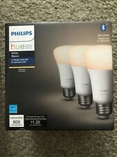 New Philips Hue 3 Bulb Pack White 800 Lumens BT App Control E26 Brand New!
