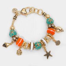 Starfish Bracelet Sliding Beads Sand Dollar Sea Shell Charms GOLD TURQ Jewelry