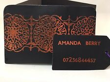 GENUINE HIDE LEATHER PASSPORT/ NOTE HOLDER & LUGGAGE TAG uk made - FOIL EMBOSSED