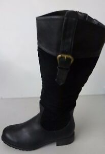 Manfield Faux Leather & Suede Black Tall Boot with Buckle Trim - Size 5