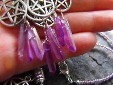 RAW DRUZY pink purple AURA QUARTZ gemstone NECKLACE PENTACLE ethnic boho