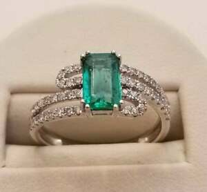4.00Ct Emerald Cut Green Emerald Solitaire Engagement Ring 14K White Gold Finish
