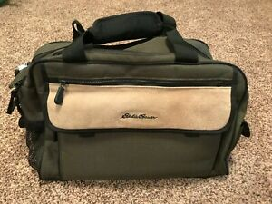 Eddie Bauer Duffel Travel Bag, Green and Beige Canvas, 17x8x12, EUC
