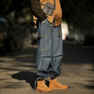 Men Cargo Jeans Denim Pants Wide Leg Trousers Baggy Bottoms