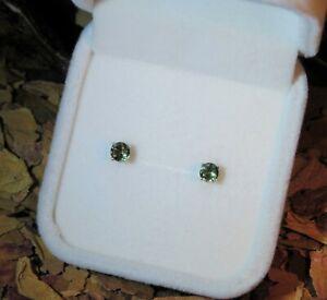 RARE! Top Gem Quality natural Moldavite Tektite 4mm round facet silver studs 👽
