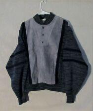 Z8764 Men's Pioneer Wear Gray Leather & Knit Long Sleeve Pullover Sweater-Large