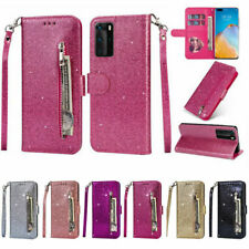 For Huawei P40 P30 P20 Pro Lite Glitter Leather Zip Card Wallet Flip Case Cover
