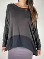 THE ARK Brown Black Merino Wool Hi-lo Hem Knit Tunic Top L Plus Size AU 14-16