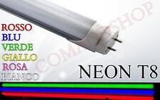 NEON TUBO LED SMD T8 COLORATO 60-120-150CM  ROSA VERDE ROSSO BLU CALDA FREDDA