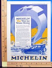 1920 MICHELIN TIRE Man motor car automobile Winter tires Vintage Print Ad 9464
