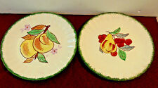 "2pcs ""Blue Ridge Southern Pottery"" SALAD PLATE, 8 1/2 in Pear & Cherrys & Peachs"