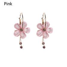 Rhinestone White Pink Zircon Tassel Drop Earrings Acrylic Flower 5 Petal