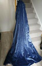 Pair Vtg LAURA ASHLEY Cornflower Pale Blue Heavy Curtains Drapes