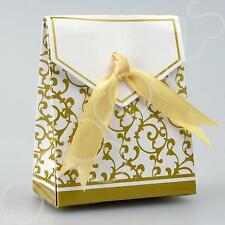 Set of 25 DIY Gold Floral Design Wedding Favour Gift Treat Boxes w Ribbon
