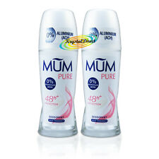 2x Mum Pure Anti Perspirant Deodorant Roll On 50ml 0% ACH Aluminium Free 48h