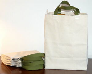 4 PAK Cotton CANVAS GROCERY BAG Shopping Totes - Made in USA