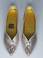 Daniel Green Women's Slippers Metallic Gold Ivory Brocade Shoes Sz 8 Narrow