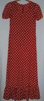Vintage 60s Cherry Red White SS Circle Polka Dot Dress Full Length Ruffle S