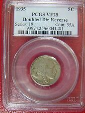 1935 Doubled Die Reverse DDR Buffalo Nickel PCGS VF 25 Cert# 60041401 REDUCED