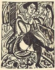 Ernst Kirchner Reproduction: Women Tying Her Shoe: Fine Art Print