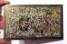 VOLUPTE Vintage Cigarette Case Gold Tone Enamel Hunting Scene People Horses NICE