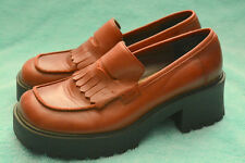 MUDD 8.5 Red Genuine Leather Chunky Heels Platform Penny Loafers Shoes Women EUC