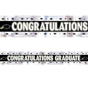 GRADUATION FOIL BANNER Silver Wall Party Decorations Congratulations Graduate