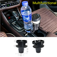 Multifunction Car Dual Cup Holder Drink Bottle Phone Organizer Carbon Fiber Look