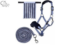 HKM Matchy Halter Set With Headcollar Fly Fringe & Snap Hook Leadrope FREE P&P