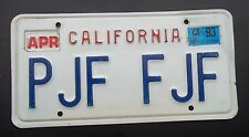 "CALIFORNIA VANITY LICENSE PLATE "" PJF FJF "" CA PAUL PETE PAT FRANKLIN FRED FRAN"