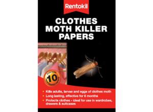 Rentokil Clothes Moth Killer Papers 10 Strips Kills Moth adults, Larvae ,Eggs