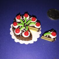 DOLLHOUSE Mini Food **CHOCOLATE CHERRY LIME ICED CAKE 8 x SLICES** BARBIE PARTY