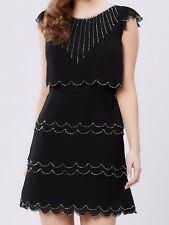 REVIEW Twinkle Little Star Dress Tiered Sparkling Scallop Beaded 1920s Black NEW