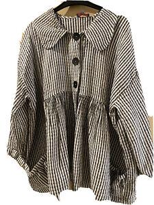SAHARA Black & White Check Linen Smock Shirt Large